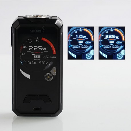 Authentic Smoant Charon Mini 225W TC VW Variable Wattage Box Mod - Black, 1~225W, 2 x 18650