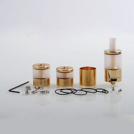 Dvarw V2 Style MTL RTA Atomizer w/ Airflow Control Sets + Spare Tank Sets - Gold, 316 Stainless Steel, 5ml, 22mm Diameter