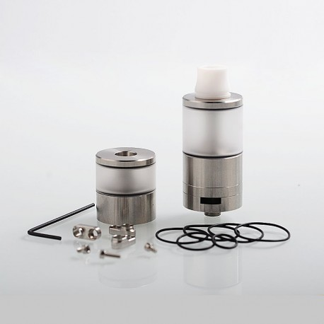 Dvarw V2 Style DL RTA Atomizer w/ Airflow Control Sets + Spare Tank Set - Silver, 316 Stainless Steel + PC, 6ml, 24mm Diameter