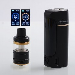Authentic Vaporesso Armour Pro 100W TC VW Box Mod + Cascade Baby Tank Kit - Black, 5~100W, 1 x 18650 / 20700 / 21700, 5ml