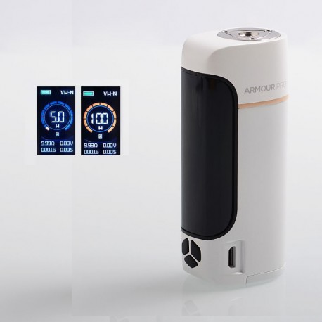 Authentic Vaporesso Armour Pro 100W TC VW Variable Wattage Box Mod - White, 5~100W, 1 x 18650 / 20700 / 21700