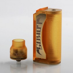 Lokos Style Hybrid Mechanical Box Mod + RDA Kit - Yellow, PEI + Brass, 1 x 18650, 24mm Diameter