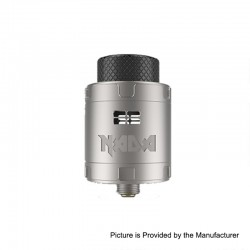 Authentic Tigertek Nada RDA Rebuildable Dripping Atomizer w/ BF Pin - Full Silver, Stainless Steel, 25mm Diameter