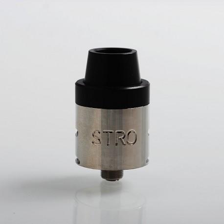 STRO Mini V2 Style RDA Rebuildable Dripping Atomizer - Silver + Black, Stainless Steel, 22mm Diameter