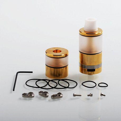 Dvarw V2 Style DL RTA Atomizer w/ Airflow Control Sets + Spare Tank Set - Gold, 316 Stainless Steel + PC, 6ml, 24mm Diameter