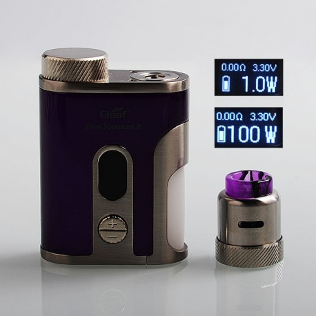 Authentic Eleaf Pico Squeeze 2 100W TC VW Variable Wattage Squonk Box Mod + Coral 2 RDA Kit - Purple, 1 x 18650 / 21700, 8ml