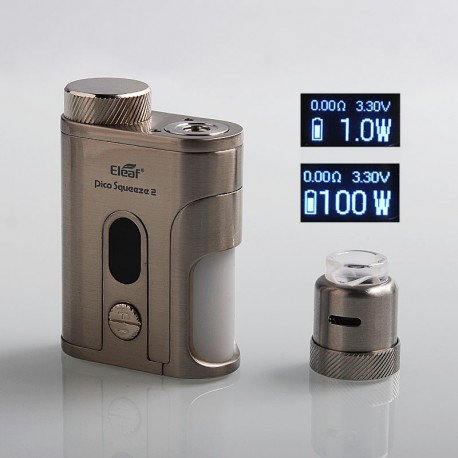 Authentic Eleaf Pico Squeeze 2 100W TC VW Variable Wattage Squonk Box Mod + Coral 2 RDA Kit - Silver, 1 x 18650 / 21700, 8ml