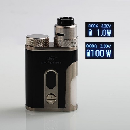 Authentic Eleaf Pico Squeeze 2 100W TC VW Variable Wattage Squonk Box Mod + Coral 2 RDA Kit - Black, 1 x 18650 / 21700, 8ml