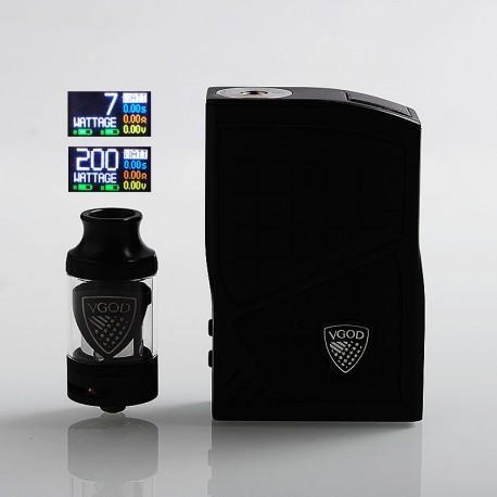 Authentic VGOD Pro 200W TC VW Variable Wattage Box Mod + VGOD Pro SubTank Kit - Black, 7~200W, 2 x 18650, 0.2 Ohm, 5ml