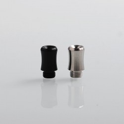 Coppervape Replacement Drip Tip Kit for Spica Pro Style MTL RTA - Black + Silver, POM + Stainless Steel, 14.5mm (2 PCS)
