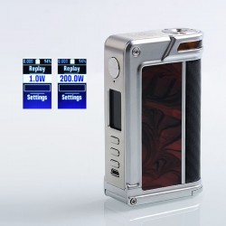 Authentic Lost Vape Paranormal DNA250C 200W TC VW Box Mod - Silver + Scarlet Passion + Black Grey Kevlar, 1~200W, 2 x 18650