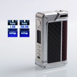 Authentic Lost Vape Paranormal DNA250C 200W TC VW Box Mod - Silver + Wood + Carbon Fiber + Red Black Kevlar, 1~200W, 2 x 18650