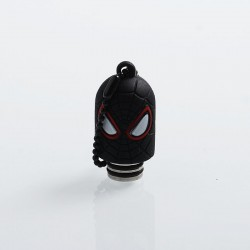 Spider Man Style 510 Drip Tip for RDA / RTA / Sub Ohm Tank Atomizer - Black, Resin + Stainless Steel + Silicone, 19mm