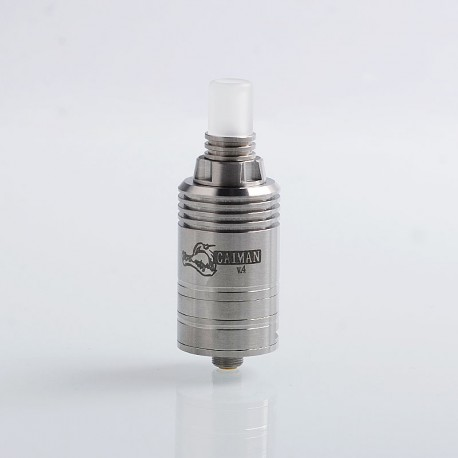 Coppervape Caiman V.4 Style MTL RDA Rebuildable Dripping Atomizer - Silver, 316 Stainless Steel, 22mm Diameter