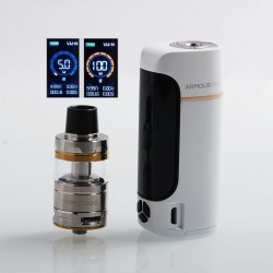Authentic Vaporesso Armour Pro 100W TC VW Box Mod + Cascade Baby Tank Kit - White, 5~100W, 1 x 18650 / 20700 / 21700, 5ml