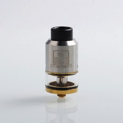 Authentic Coil Father King RDTA Rebuildable Dripping Tank Atomizer - Silver, Stainless Steel + Brass, 3.5ml, 25mm Diameter