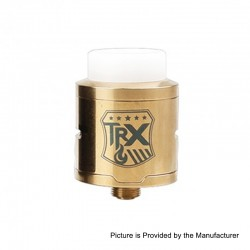 Authentic Oumier TRX RDA Rebuildable Dripping Atomizer - Gold, Stainless Steel, 24mm Diameter
