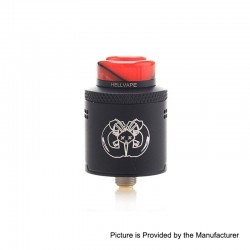 Authentic Hellvape Drop Dead RDA Rebuildable Dripping Atomizer w/ BF Pin - Black, Stainless Steel, 24mm Diameter