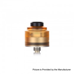 Authentic GAS Mods Nixon S RDA Rebuildable Dripping Atomizer w/ BF Pin - Amber + Silver, PMMA + Stainless Steel, 22mm Diameter