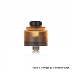 Authentic GAS Mods Nixon S RDA Rebuildable Dripping Atomizer w/ BF Pin - Amber + Black, PMMA + Stainless Steel, 22mm Diameter