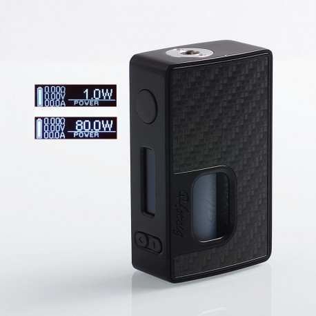 Authentic Hotcig RSQ 80W Squonk TC VW Variable Wattage Box Mod - Black, Zinc Alloy + Carbon Fiber, 1~80W, 7ml, 1 x 18650