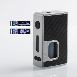 Authentic Hotcig RSQ 80W Squonk TC VW Variable Wattage Box Mod - Silver, Zinc Alloy + Carbon Fiber, 1~80W, 7ml, 1 x 18650