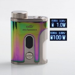Authentic Eleaf Pico Squeeze 2 100W TC VW Variable Wattage Squonk Box Mod - Dazzling, 1 x 18650 / 21700, 8ml