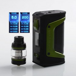 Authentic GeekVape Aegis Legend 200W TC VW Box Mod + Aero Mesh Version Tank Kit - Green Trim, 5~200W, 2 x 18650, 5ml