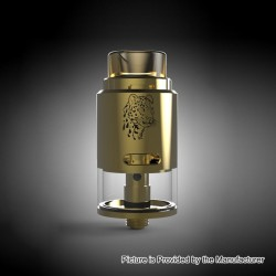 Authentic 5GVape Leopard RDTA Rebuildable Dripping Tank Atomizer - Gold, Stainless Steel, 4ml, 24mm Diameter