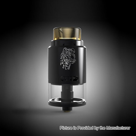 Authentic 5GVape Leopard RDTA Rebuildable Dripping Tank Atomizer - Black, Stainless Steel, 4ml, 24mm Diameter