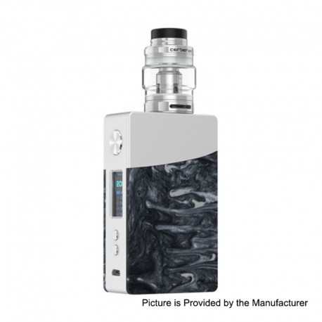 Authentic GeekVape Nova 200W TC VW Variable Wattage Box Mod + Cerberus Tank Kit - Silver + Onyx Resin, 2 x 18650, 4ml