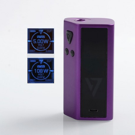 Authentic Desire Cut 108W TC VW Variable Wattage Squonk Box Mod - Purple, Zinc Alloy, 5~108W, 1 x 18650 / 21700, 7ml