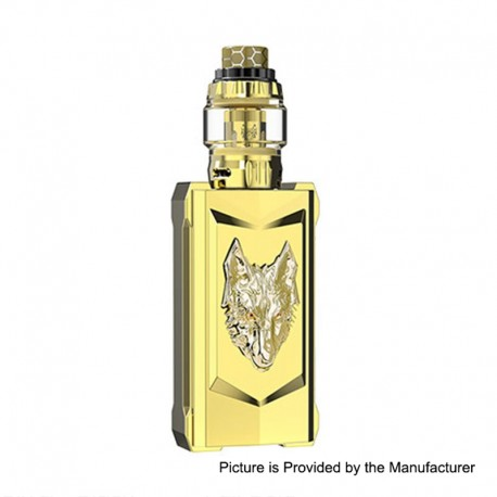 Authentic Snowwolf Mfeng Limited Edition 200W TC VW Variable Wattage Mod + Mfeng Tank Kit - Full Gold, 10~200W, 2 x 18650
