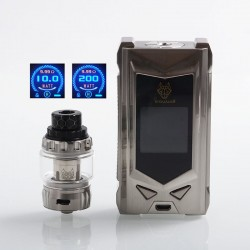 Authentic Snowwolf Mfeng Limited Edition 200W TC VW Variable Wattage Mod + Mfeng Tank Kit - Full Silver, 10~200W, 2 x 18650