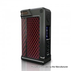 Authentic Lost Vape Paranormal DNA250C 200W TC VW Box Mod - Gun Metal + Red Rhombus + Red Black Kevlar, 1~200W, 2 x 18650