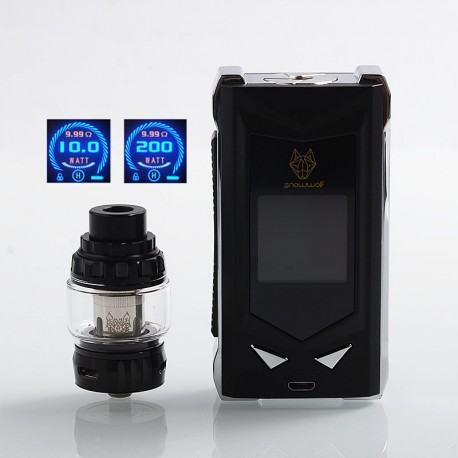 Authentic Snowwolf Mfeng Limited Edition 200W TC VW Variable Wattage Mod + Mfeng Tank Kit - Black + Silver, 10~200W, 2 x 18650