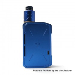 Authentic Tesla Invader IV 280W VV Variable Voltage Box Mod + RDA Kit w/ 20700 Battery - Blue, 3~8V, 1 x 18650 / 20700 / 21700