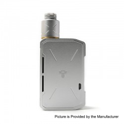 Authentic Tesla Invader IV 280W VV Variable Voltage Box Mod + RDA Kit w/ 20700 Battery - Silver, 3~8V, 1 x 18650 / 20700 / 21700