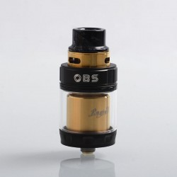 Authentic OBS Engine 2 RTA Rebuildable Tank Atomizer Limited Edition - Black + Gold, Stainless Steel, 5ml, 26mm Diameter