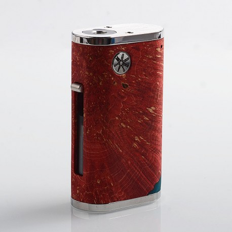 Authentic Asmodus Pumper-18 Squonk Mechanical Box Mod - Red, Stainless Steel + Stabilized Wood, 8ml, 1 x 18650