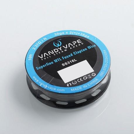 Authentic Vandy Vape SS316L Superfine MTL Fused Clapton Heating Resistance Wire - 30GA x 2 + 38GA, 2.37 Ohm / Ft, 3m (10 Feet)