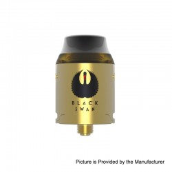 Authentic Kindbright Black Swan RDA Rebuildable Dripping Atomizer w/ BF Pin - Gold, Stainless Steel, 24mm Diameter