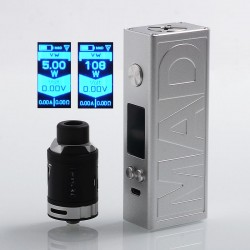 Authentic Desire Mad 108W TC VW Variable Wattage Box Mod + M-Tank Kit - Silver, 5~108W, 1 x 18650 / 20700, 3ml