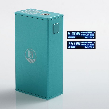 Authentic USV L USV-L 75W TC VW Variable Wattage Box Mod - Tiffany Blue, Zinc Alloy, 1~75W, 1 x 18650, VO 75 Chip