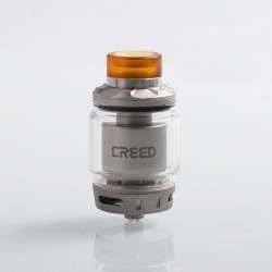 Authentic GeekVape Creed RTA Rebuildable Tank Atomizer - Silver, Stainless Steel, 4.5ml / 6.5ml, 25mm Diameter