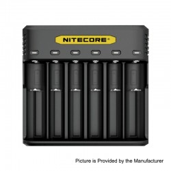 Authentic Nitecore Q6 2A 6 Slots Battery Charger for 18650 / 20700 / 21700 Battery - Black, PC, 6 x Battery Slots