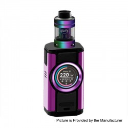 Authentic Aspire Dynamo 220W TC VW Variable Wattage Box Mod + Nepho Tank Kit - Purple, 2 x 18650 / 20700 / 21700, 4ml