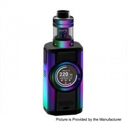 Authentic Aspire Dynamo 220W TC VW Variable Wattage Box Mod + Nepho Tank Kit - Rainbow, 2 x 18650 / 20700 / 21700, 4ml