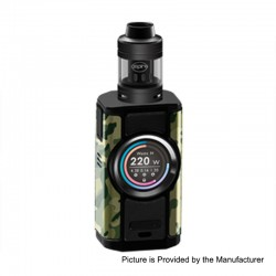 Authentic Aspire Dynamo 220W TC VW Variable Wattage Box Mod + Nepho Tank Kit - Camo + Black, 2 x 18650 / 20700 / 21700, 4ml
