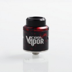 Authentic Cool Vapor MGTK RDA Rebuildable Dripping Atomizer w/ BF Pin - Black + Red, Stainless Steel, 24mm Diameter